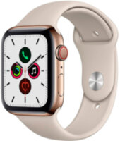 Apple Watch 5 (GPS + Cellular) 44mm Gold Stainless Steel Case with Stone Sport Band (MWWH2)