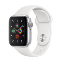 Apple Watch 5 (GPS) 40mm Silver Aluminum Case with White Sport Band (MWV62)