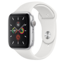 Apple Watch 5 (GPS) 44mm Silver Aluminum Case with White Sport Band (MWVD2)