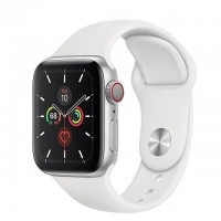 Apple Watch Series 5 (GPS + Сellular) 40mm Silver Case w. White Sport Band (MWWN2)