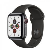 Apple Watch Series 5 GPS + Cellular 40mm Space Black Stainless Steel Case with Black Sport Band (MWWW2/MWX82)