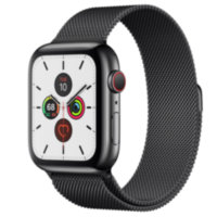 Apple Watch 5 (GPS + Cellular) 44mm Space Black Stainless Steel Case with Space Black Milanese Loop (MWW82)