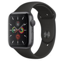 Apple Watch 5 (GPS) 44mm Space Gray Aluminum Case with Black Sport Band (MWVF2)