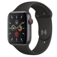 Apple Watch 5 (GPS + Cellular) 44mm Space Gray Aluminum Case with Black Sport Band (MWW12)