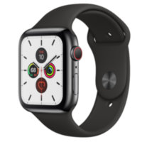 Apple Watch 5 (GPS + Cellular) 44mm Space Black Stainless Steel Case with Black Sport Band (MWWK2/MWW72)