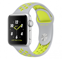 Watch Nike+ 38mm Silver Aluminum Case with Flat Silver/Volt Nike Sport Band (MNYP2)