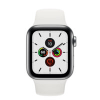 Apple Watch 5 (GPS + Cellular) 40mm Stainless Steel Case with White Sport Band (MWX42)